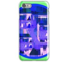 Purple Hexagons Cityscape in a Circle Design iPhone Case/Skin