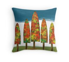 New England Fall Leaves Throw Pillow