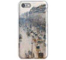 The Boulevard Montmartre on a Winter Morning Artist Camille Pissarro (French, Charlotte Amalie, Saint Thomas iPhone Case/Skin