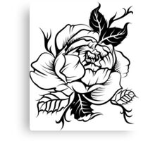 peony flower in tatto style Canvas Print