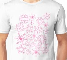 Pink snowflakes Unisex T-Shirt