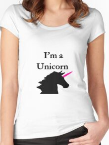 I'm a Unicorn Photo 2 Black Pink Horn Women's Fitted Scoop T-Shirt