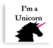 I'm a Unicorn Photo 2 Black Pink Horn Canvas Print