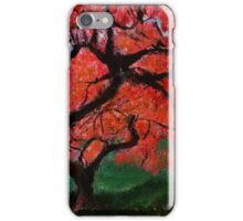 Japanese Maple Tree Red Pink Leaves Contemporary Acrylic Painting iPhone Case/Skin