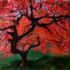 Japanese Maple Tree Red Pink Leaves Contemporary Acrylic Painting by JamesPeart