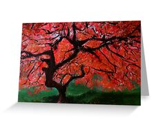 Japanese Maple Tree Red Pink Leaves Contemporary Acrylic Painting Greeting Card