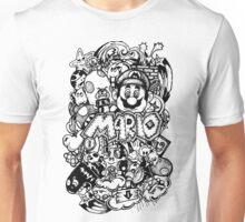 Super Mario Doodle Noir Unisex T-Shirt