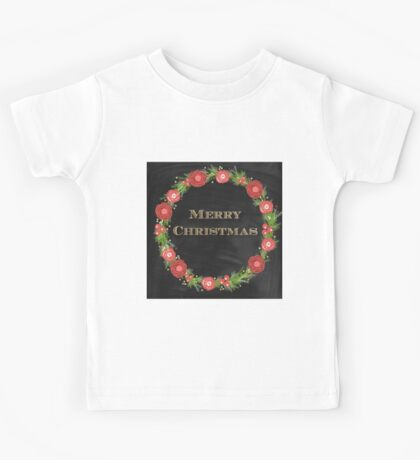Merry christmas.typography,cool text,gold,vintage,christmas wreath,floral,black board,modern,trendy,country chic Kids Tee