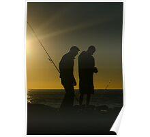 Fishermen at dawn. Currumbin Alley, Gold Coast. Poster