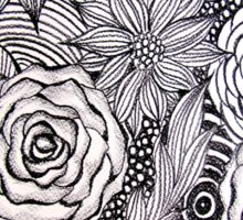 Black and white floral Sticker