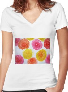 Rose galore Women's Fitted V-Neck T-Shirt