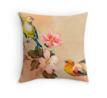 Shabby chic,vintage,pattern,flowers,birds,hand painted,country chic, Throw Pillow