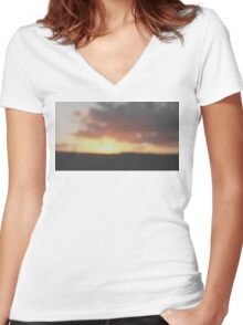 Sunset Day  Women's Fitted V-Neck T-Shirt