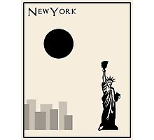 New York Minimalist Travel Poster - Beige Version Photographic Print