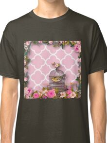 Shabby chic,pink,white,moroccan,quatrefoil,pattern,bird,cage,flowers,floral,vintage Classic T-Shirt