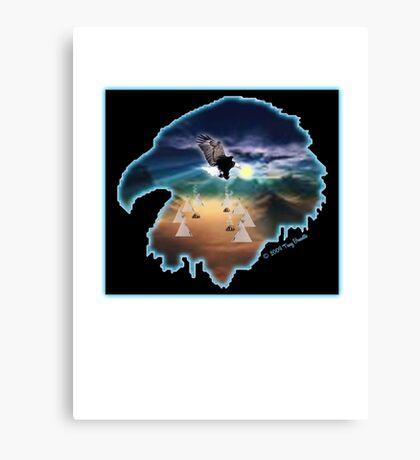 Eagle, teepee & sunset Canvas Print