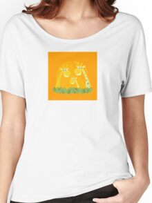 Cute giraffe family portrait. Vector Illustration of giraffe family. Funny animal characters in retro style. Women's Relaxed Fit T-Shirt
