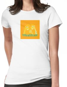 Cute giraffe family portrait. Vector Illustration of giraffe family. Funny animal characters in retro style. Womens Fitted T-Shirt