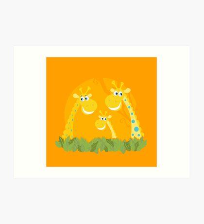 Cute giraffe family portrait. Vector Illustration of giraffe family. Funny animal characters in retro style. Art Print