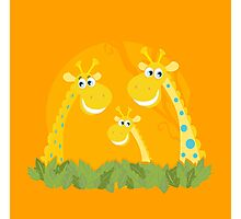 Cute giraffe family portrait. Vector Illustration of giraffe family. Funny animal characters in retro style. Photographic Print