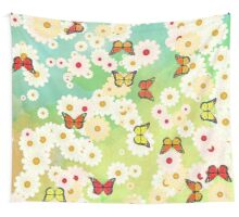 Daisies and butterflies Wall Tapestry