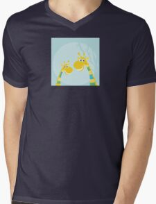 Funny jungle yellow giraffes. Vector illustraton of happy giraffes in the jungle Mens V-Neck T-Shirt