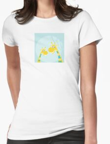 Funny jungle yellow giraffes. Vector illustraton of happy giraffes in the jungle Womens Fitted T-Shirt