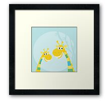 Funny jungle yellow giraffes. Vector illustraton of happy giraffes in the jungle Framed Print