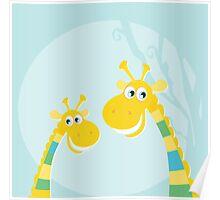 Funny jungle yellow giraffes. Vector illustraton of happy giraffes in the jungle Poster