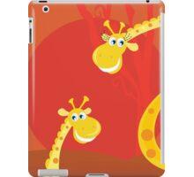 Safari animals - Big and small giraffe. Cute giraffe family with sun behind iPad Case/Skin