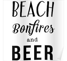 Beach. Bonfiles and Beer Poster