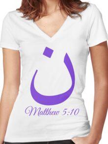 Arabic Letter N Matthew 5:10 Christian Women's Fitted V-Neck T-Shirt