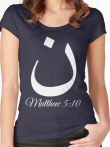 Arabic Letter N Matthew 5:10 Christian Women's Fitted Scoop T-Shirt