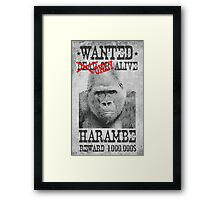 Harambe Wanted Framed Print