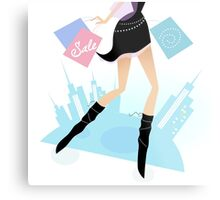 Long legs woman shopping in the city. Vector illustration of sexy long - legs woman with shopping bags Metal Print