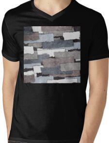 Textured Gray Layers Mens V-Neck T-Shirt