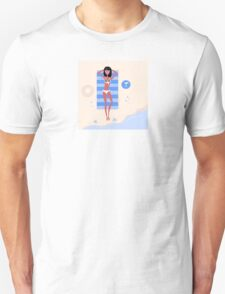 Sexy beach girl near sea water. Illustration of a sexy girl lying on the beach and sunbathing Unisex T-Shirt