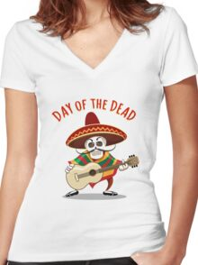 Day of the Dead Mexican Musician Women's Fitted V-Neck T-Shirt