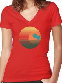 Los Angeles Sunset Women's Fitted V-Neck T-Shirt