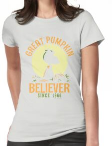 Great Pumpkin Believer, Funny Halloween Custom For Men And Women Womens Fitted T-Shirt