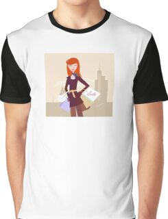 Fashion woman with shopping bags in town Graphic T-Shirt
