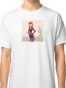 Fashion woman with shopping bags in town Classic T-Shirt