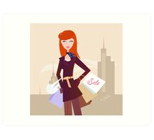 Fashion woman with shopping bags in town Art Print