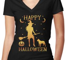 Happy Halloween, Funny Halloween Custom Gift For Men Or Women Women's Fitted V-Neck T-Shirt