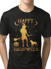 Happy Halloween, Funny Halloween Custom Gift For Men Or Women Tri-blend T-Shirt