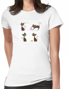 Brown cat series in various poses Womens Fitted T-Shirt