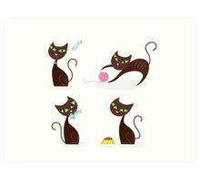 Brown cat series in various poses Art Print