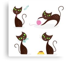 Brown cat series in various poses Canvas Print