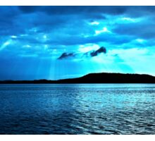 Blue Sunrise waterscape. Photo Art, Prints, Gifts, and Apparel. Sticker
