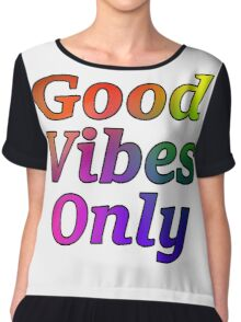 Good Vibes Only Gradient with Black Outline Chiffon Top